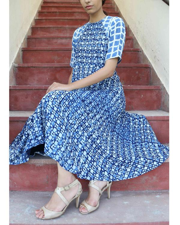 Indigo printed dress 2