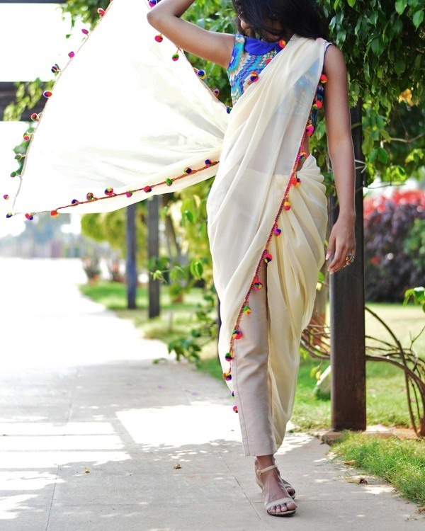 Off white trouser sari 1
