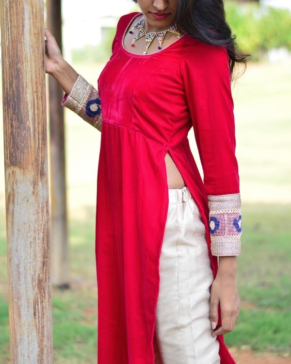 Cherry velvet kurta set 1