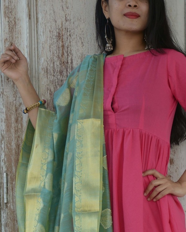 Fuschia green kurta set 1