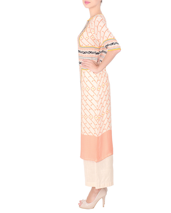 Double georgette peach pink long tunic with palazzos 3