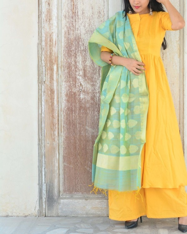 Yellow green kurta set 2