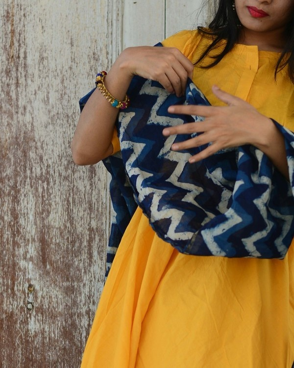 Yellow indigo kurta set 1