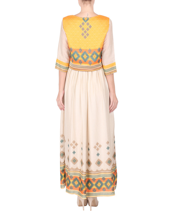 Cotton silk long ankle length dress with koti 2