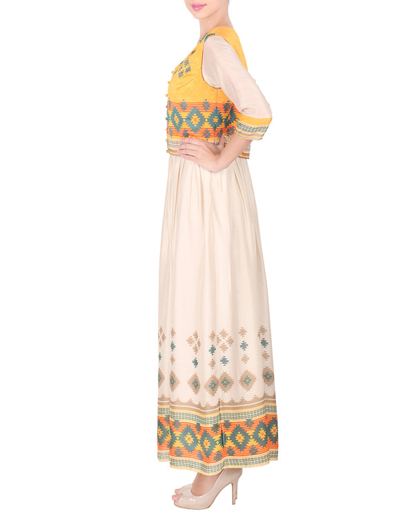 Cotton silk long ankle length dress with koti 3