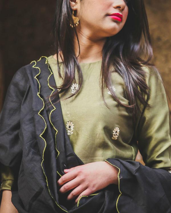 Olive embroidered gharara set 1