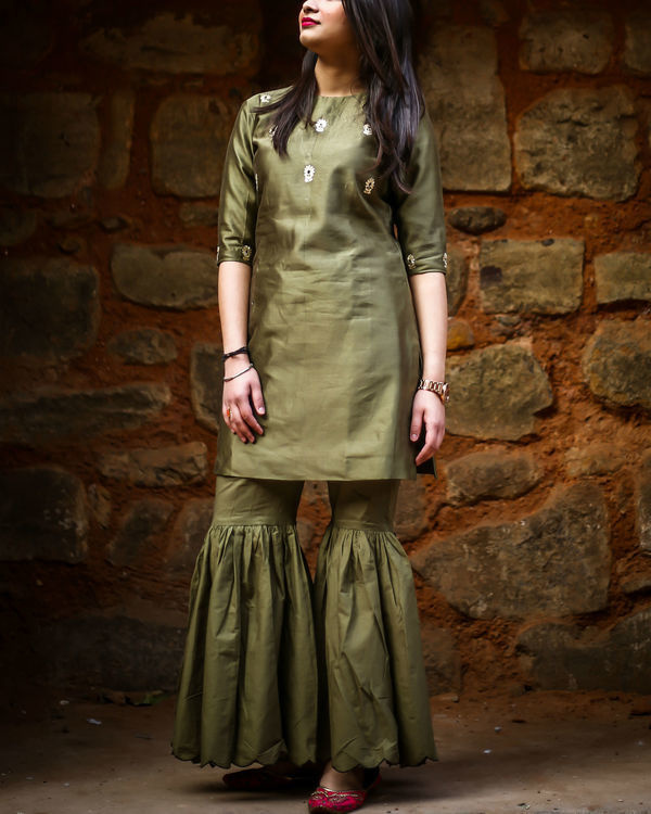 Olive embroidered gharara set 2