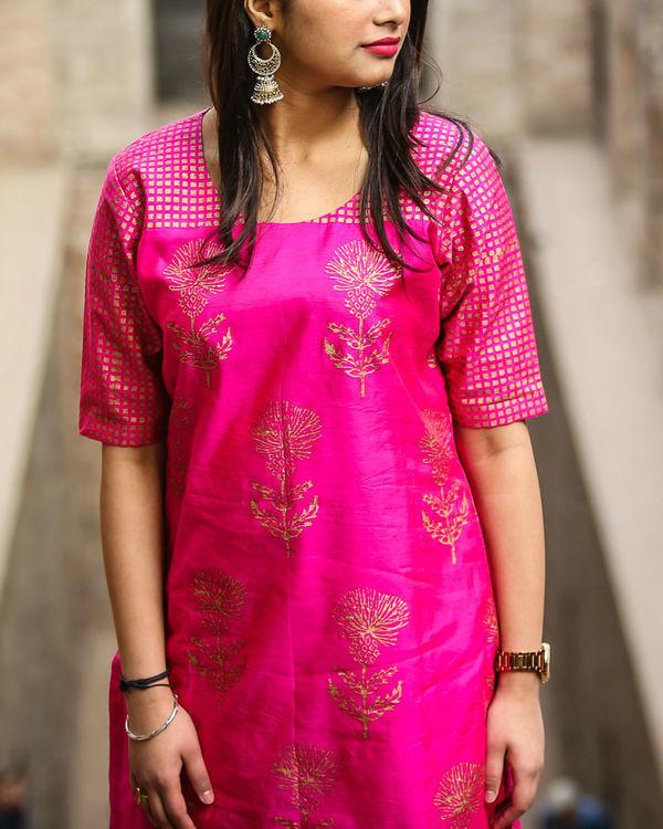 Pink floral kurta set 1