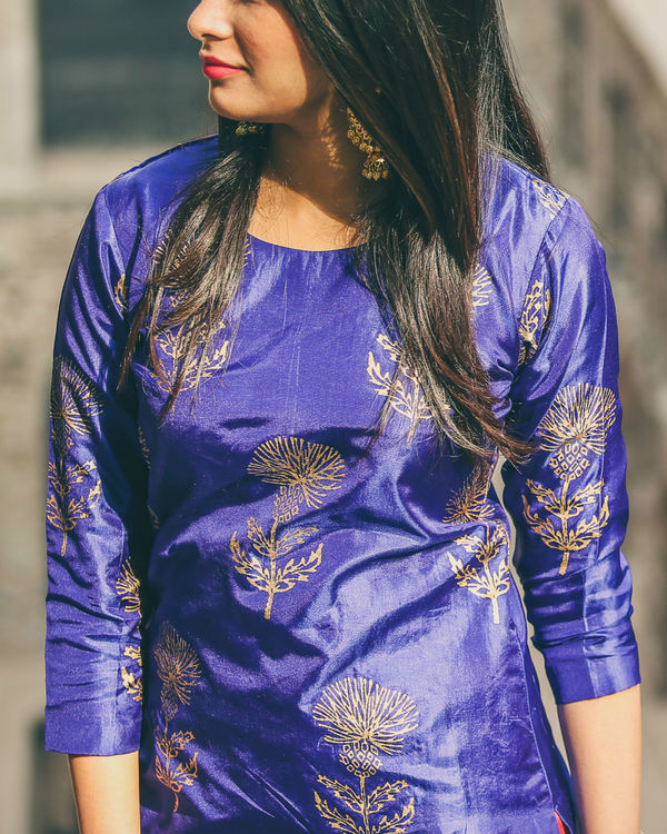Blue floral kurta set 1
