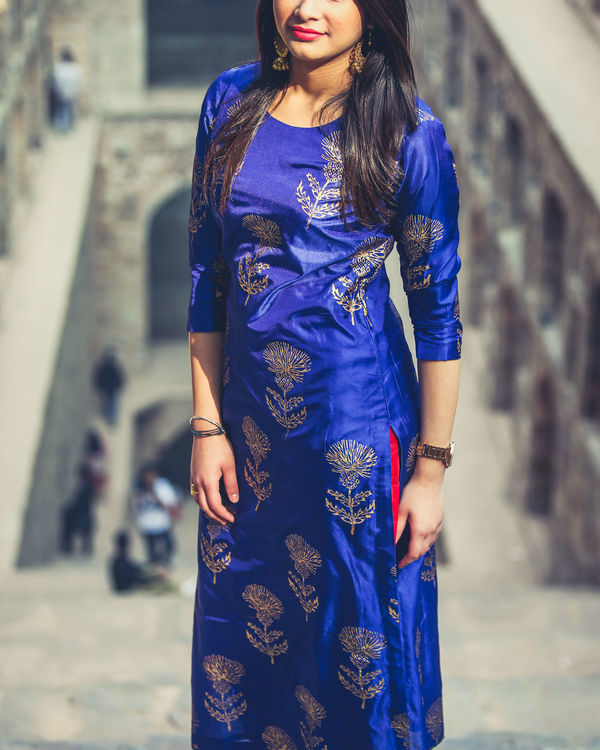 Blue floral kurta set 2