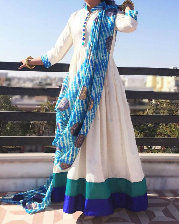 Aqua draped dress 1