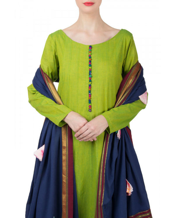 Green navy anarkali set 2