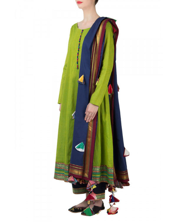 Green navy anarkali set 3