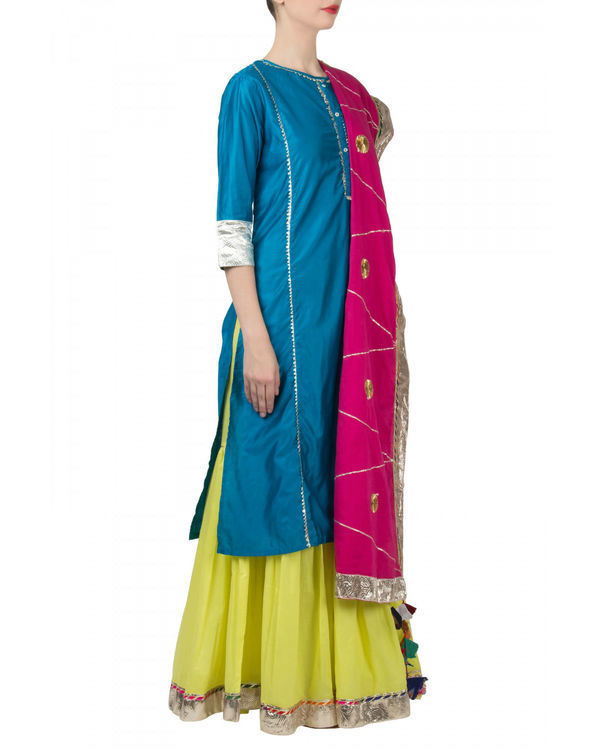 Blue pink anarkali set 3