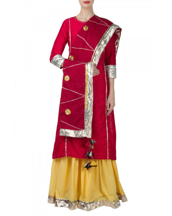Rani yellow anarkali set 1