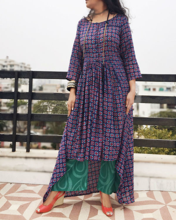 Purple asymmetric kurta set 2