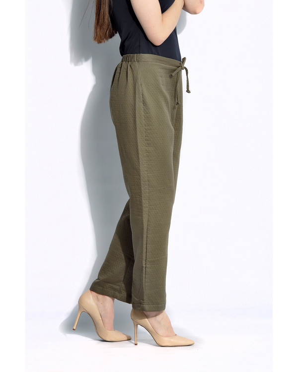 Olive solid pants 1