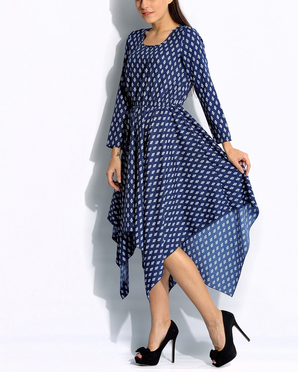 Navy handkerchief dress 1
