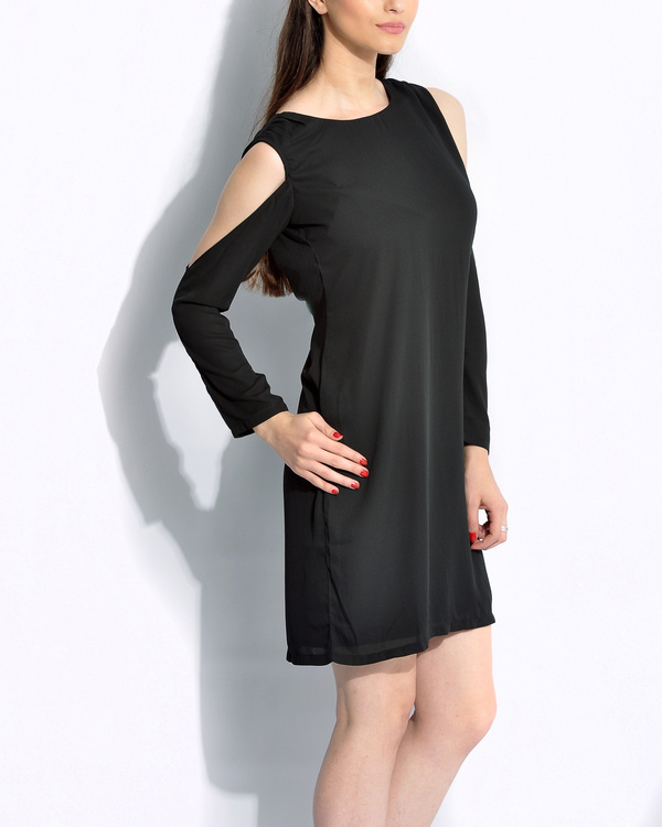 Black cold shoulder dress 1