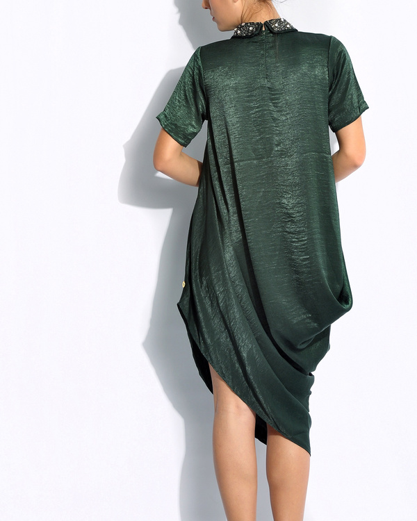 Emerald draped dress 2