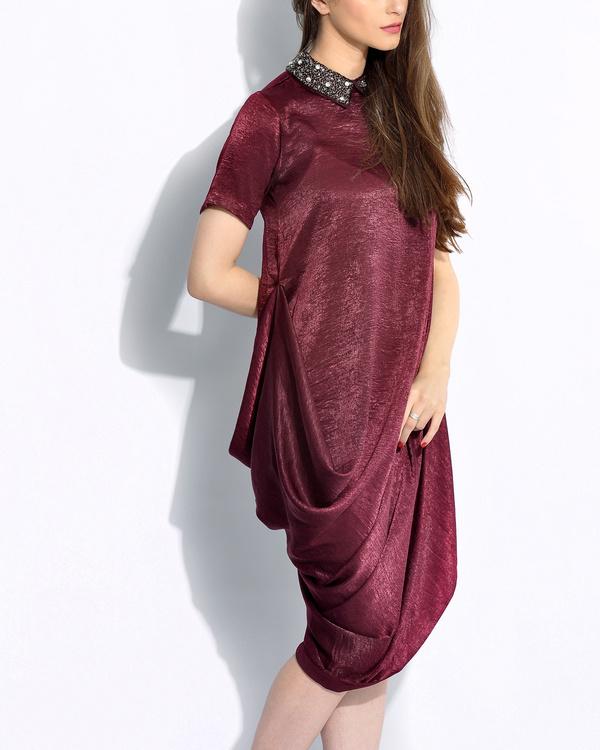 Wine draped dress 1