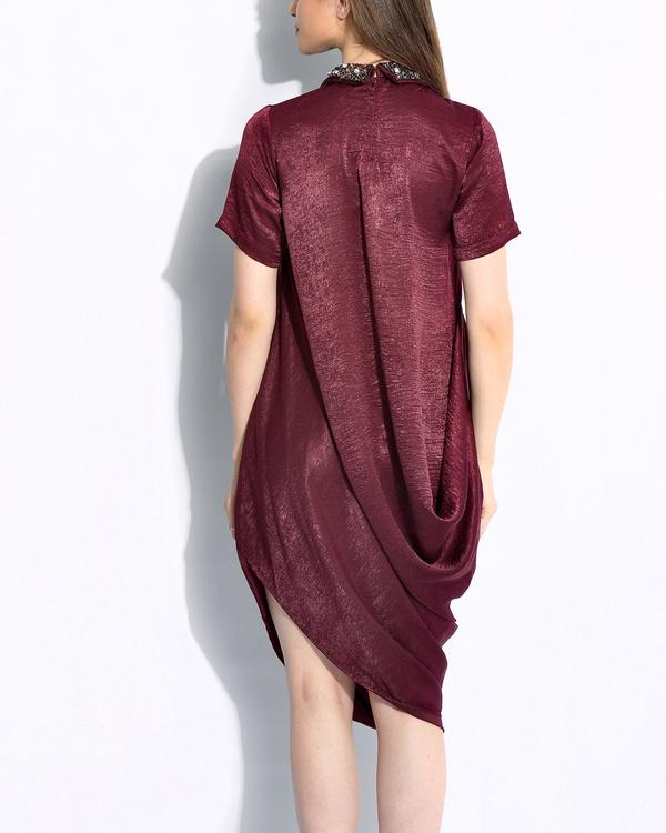 Wine draped dress 2