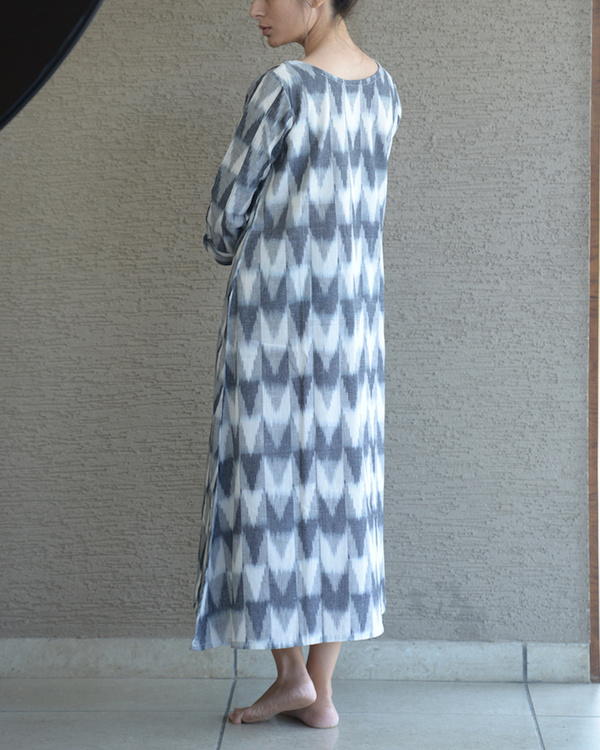 Grey relaxed ikat dress 1
