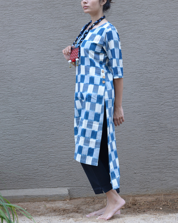 Blue ikat side button tunic 1