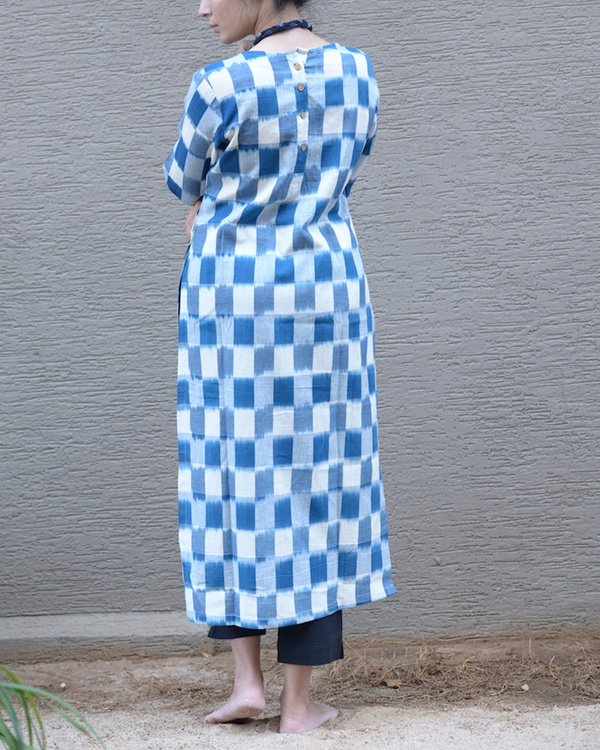 Blue ikat side button tunic 2