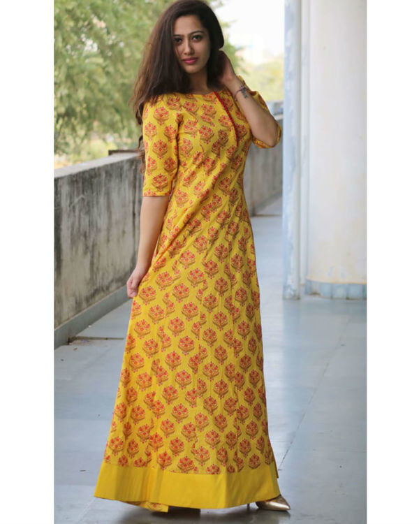 Yellow maroon block print dress 1