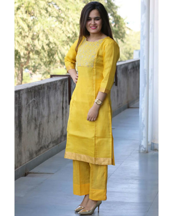 Yellow kota doria suit set 1