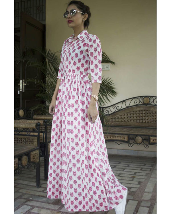 Pink double patti maxi dress 1