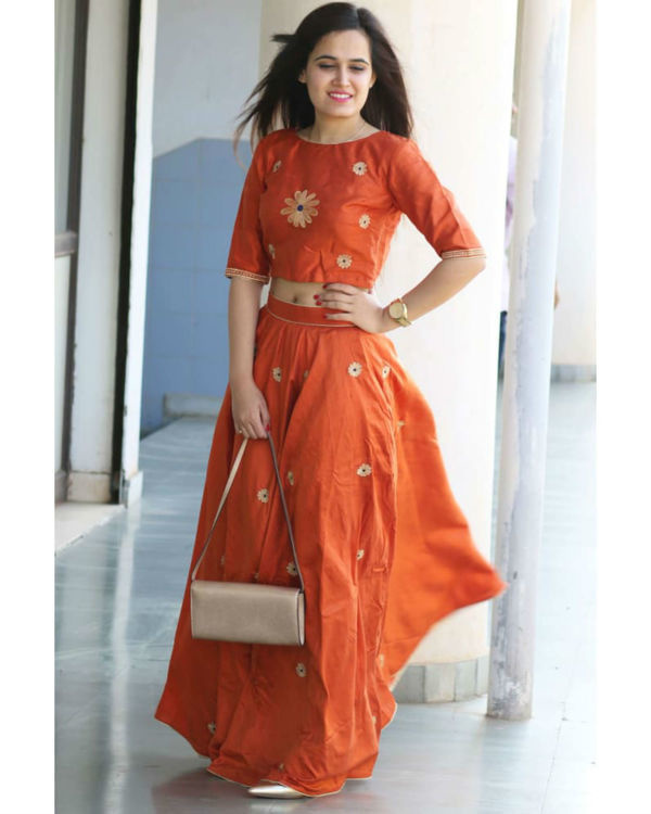 Orange raw silk twin set 1