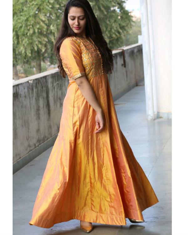 Yellow gotta patti silk gown 1