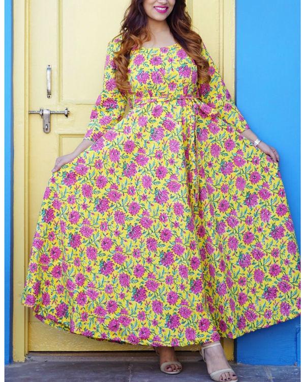 Yellow floral maxi dress 1