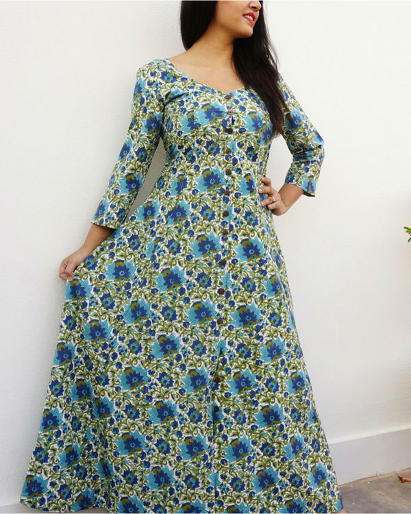 Bottle green floral maxi 1