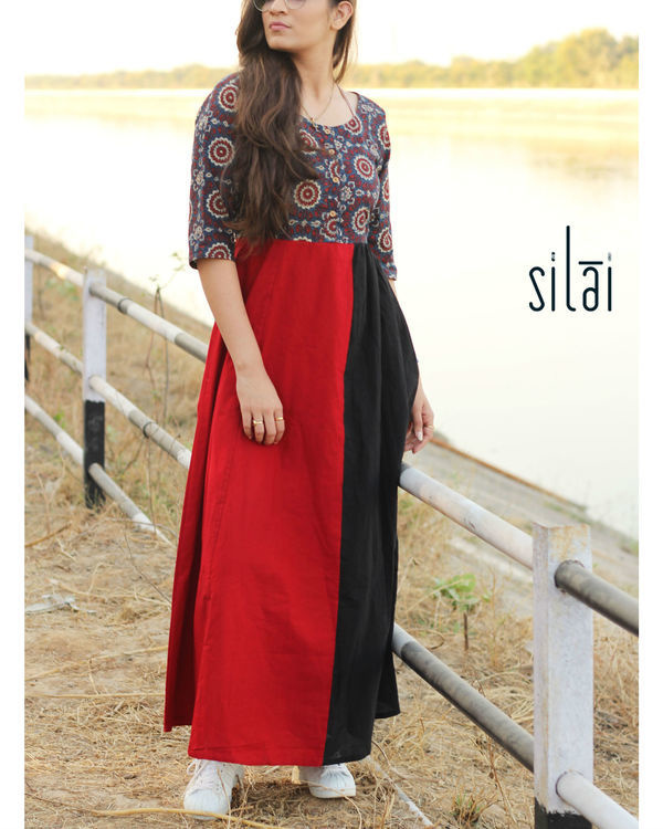 Ajrakh yoke maxi dress 1