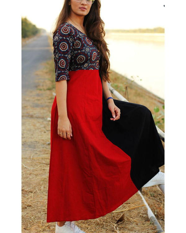 Ajrakh yoke maxi dress 2