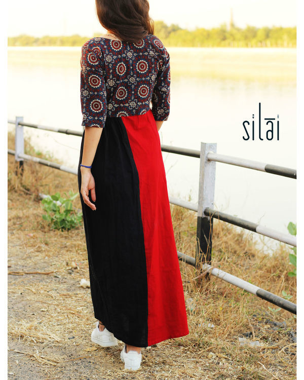 Ajrakh yoke maxi dress 3