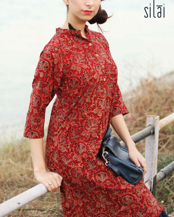 Indigo border ajrakh dress 1