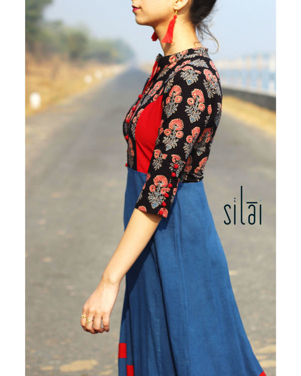 Deep Blue Ajrakh flared maxi 2