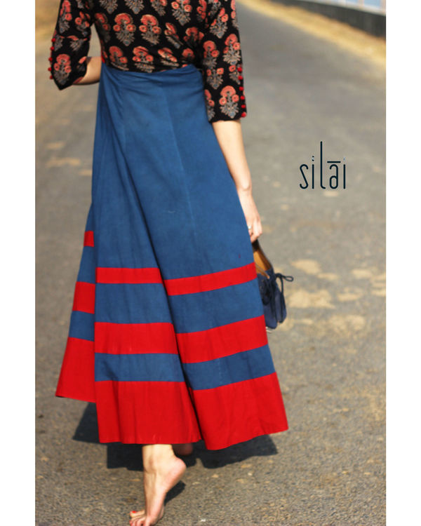Deep Blue Ajrakh flared maxi 3