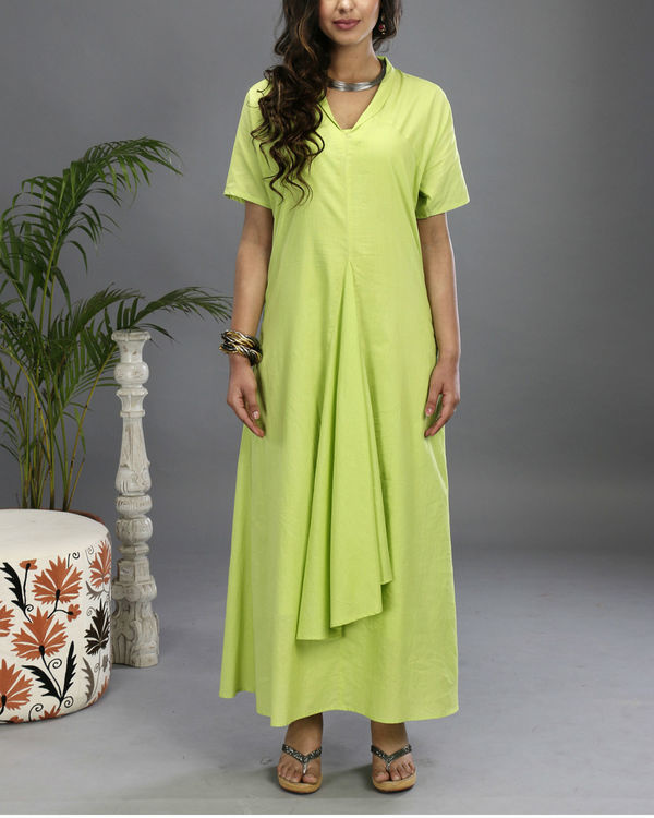 Green asymmetrical gown 1