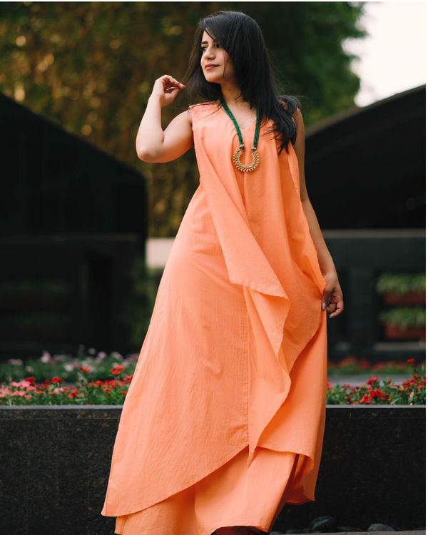 Peach layered gown 2