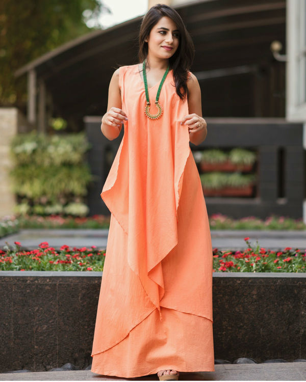 Peach layered gown 1
