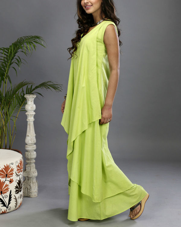 Green layered gown 2