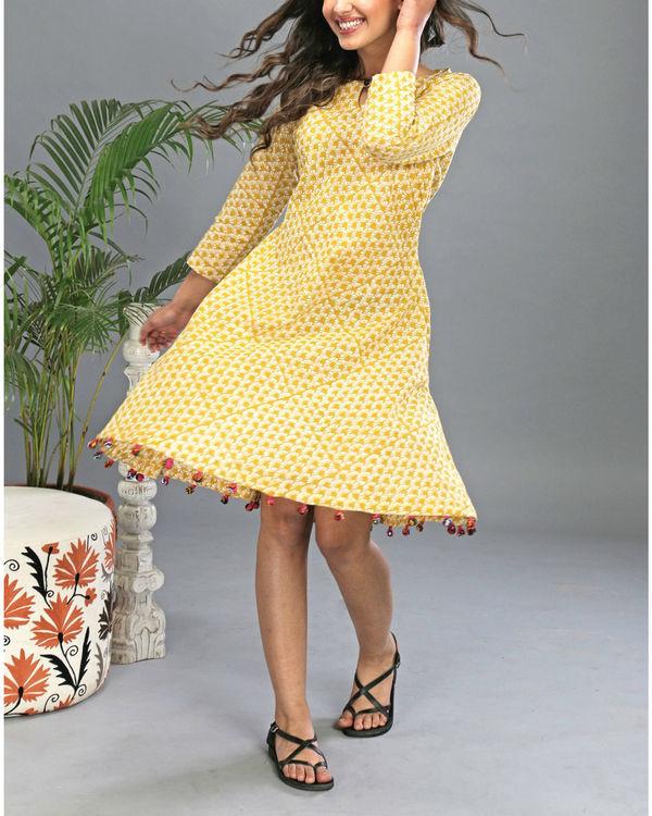 Yellow tasseled dress 1