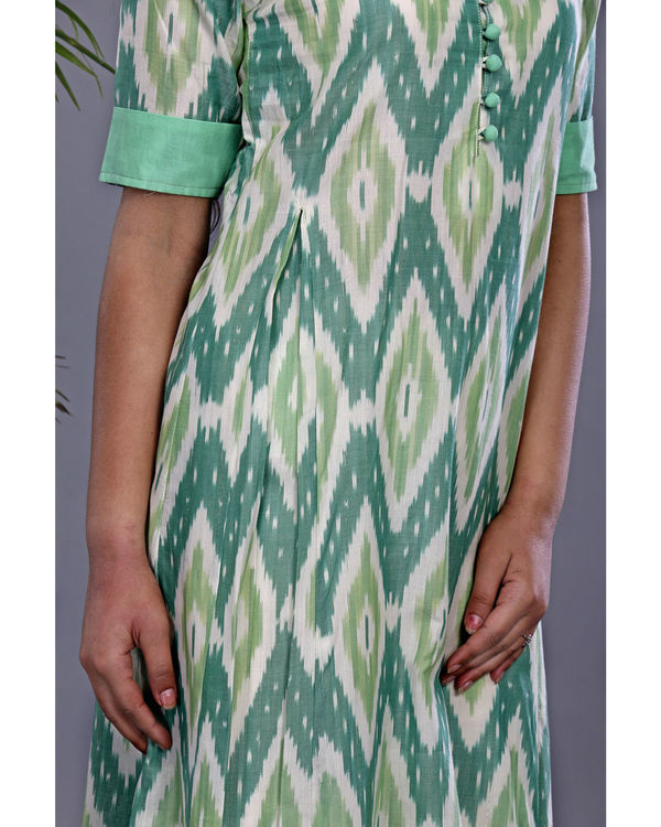 Bottle green ikat tunic 1
