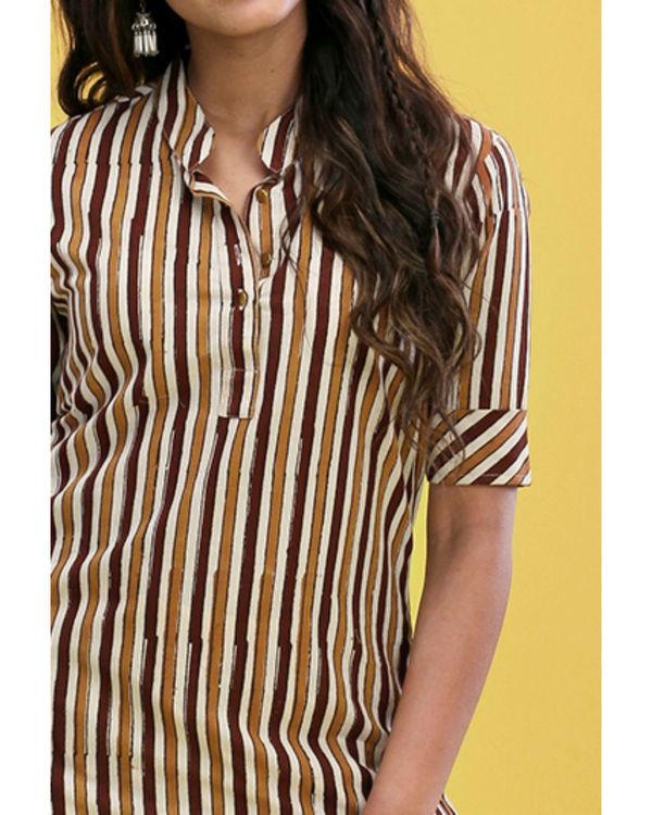 Brown striped kurta 1