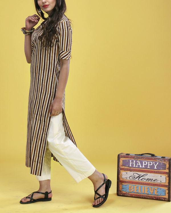 Brown striped kurta 2